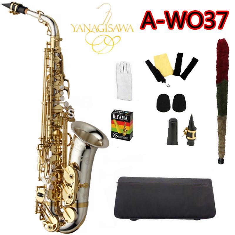 Новый Янагисава A-WO37 Альт-Саксофон Никелированный Золотой Ключ Профессиональный Саксофон С Мундштуком и Аксессуары