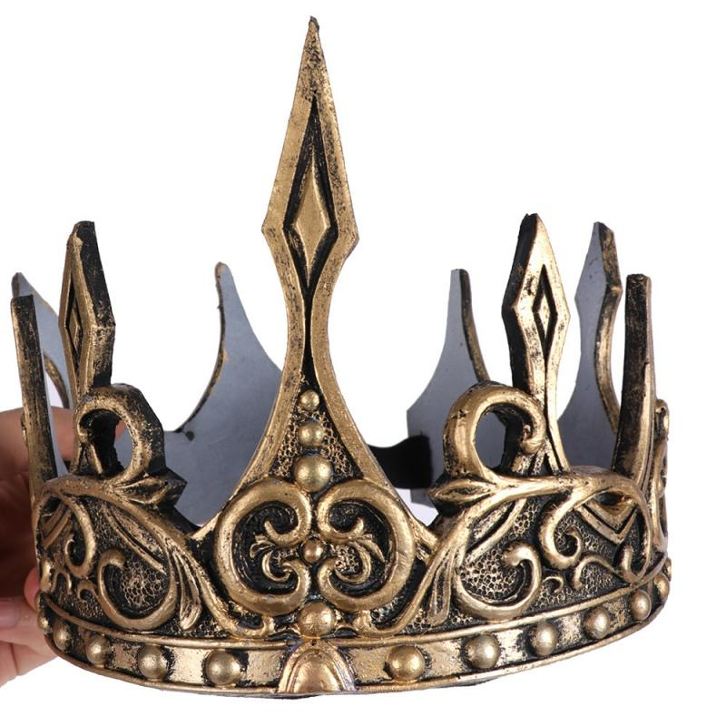 Prince princess Ancient Gold Crown Tiaras Headband Kid Men Party Decoration Crown Wedding Party Accessories Hair Jewelry