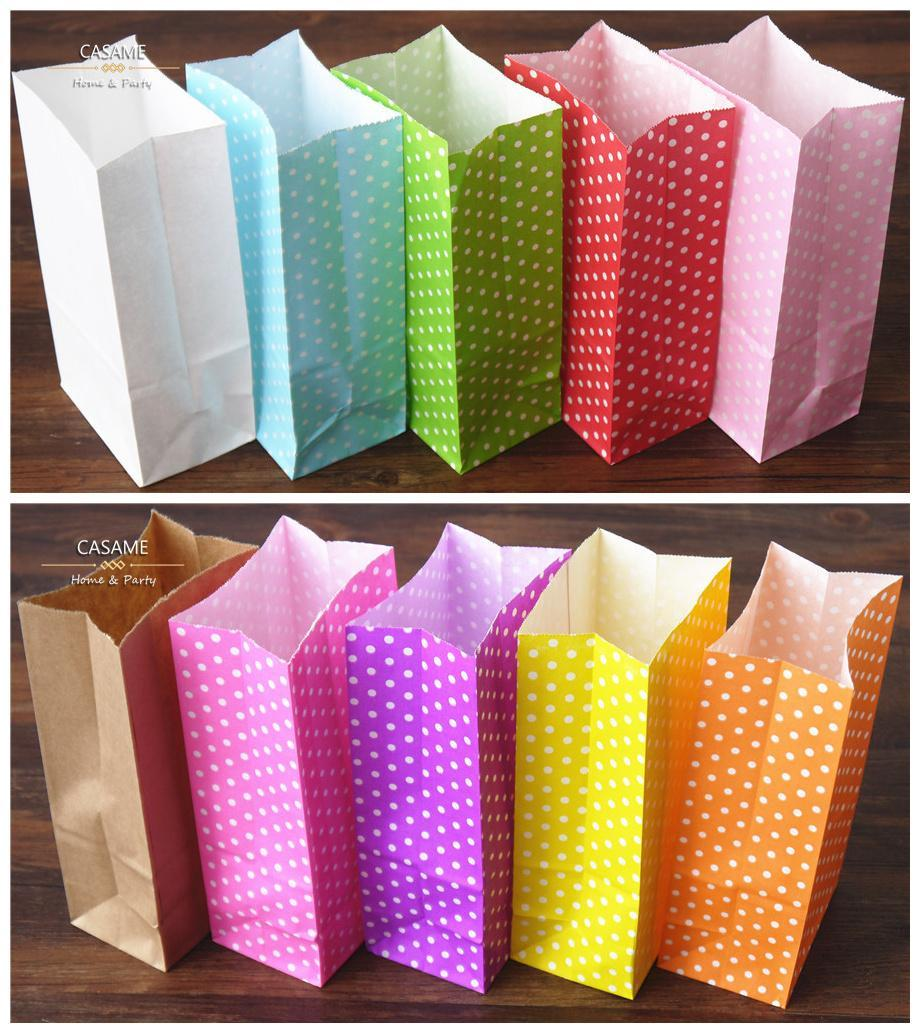 Wholesale- New 2016 paper bag Stand up Colorful Polka Dot Bags 18x9x6cm Favor Open Top Gift Packing paper Treat gift Bag wholesale
