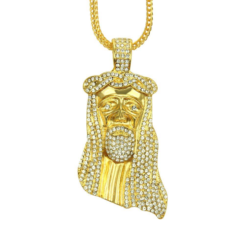 Gold Farbe JESUS Christus Stück Kopf Gesicht Hip Hop-Anhänger-Halskette Charme-Kette für Männer und Frauen Trendy Ferien Accessoires