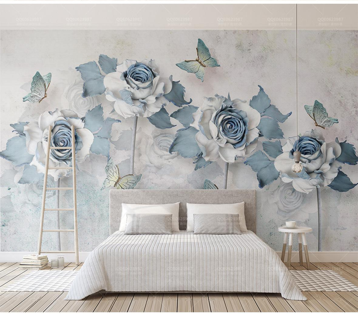 Custom Any Size Wallpaper 3d Elegant Flower Butterfly Light Blue Living  Room Bedroom Background Wall Decoration Wallpaper Desktop High Resolution  ...