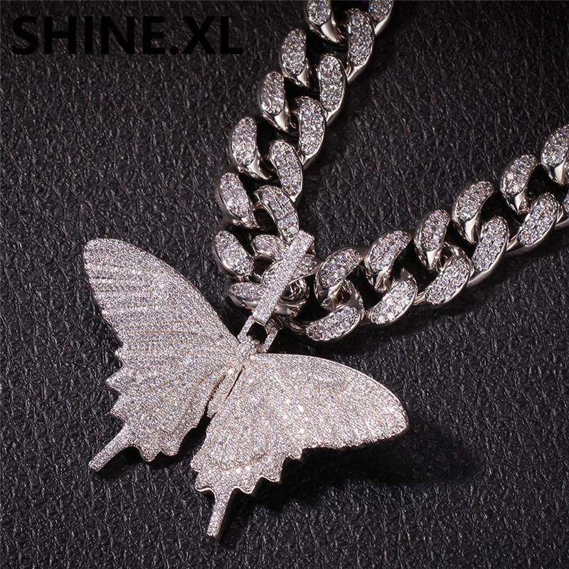 2020Iced heraus Tier Big Schmetterling Halskette Silber Blau überzieht die Männer Hip Hop Bling Schmuck Geschenk-Großverkauf