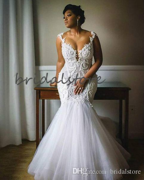 Vintage Mermaid African Wedding Dresses Plus Size Country Boho Wedding Dress With 3D Appliques Tight Garden Bridal Gowns vestidos de novia