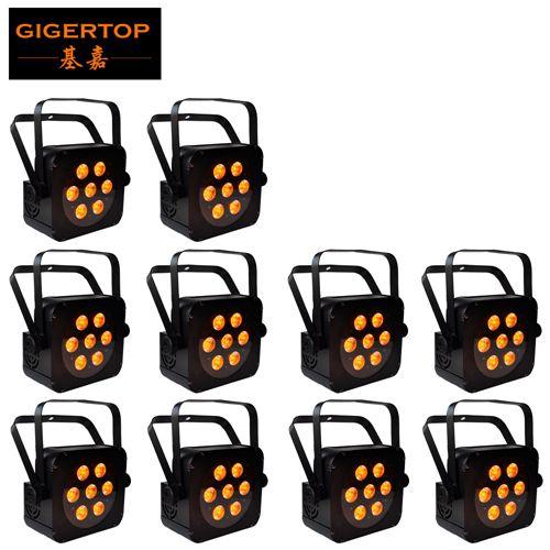TIPTOP 10 units 7x15W LED Flat Par RGBWA Color Mixing Wash Light Stage Uplighting DJ
