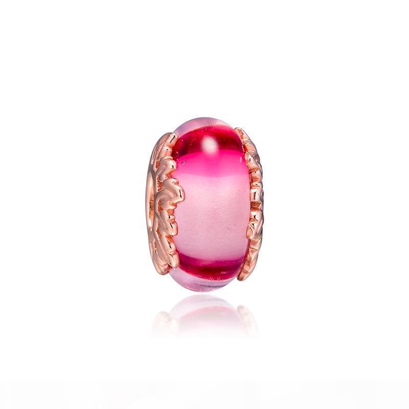 2019 originale 925 bijoux en argent sterling Rose rose en verre de Murano Feuilles Charm Bracelets Collier Fits Pandora Europe pour les femmes