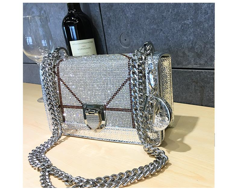 Designer-purse hook 2020 New Diamond Fashion Leather Shoulder Messenger Clutches Bag Casual Chain High Quality Handbags Women Bags