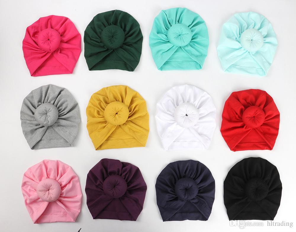 11 цветов милый младенческий малыш унисекс мяч узел индийская тюрбана кепки дети весна осенние кепки детские пончик шляпа сплошной цвет хлопчатобумажный