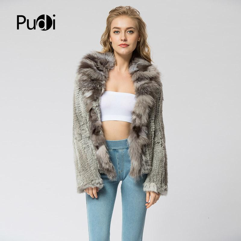 CR072 malha casaco de pele de coelho verdadeiro casaco jaqueta com gola de pele de raposa russo inverno das mulheres quentes de espessura genuína casaco de pele MX191207