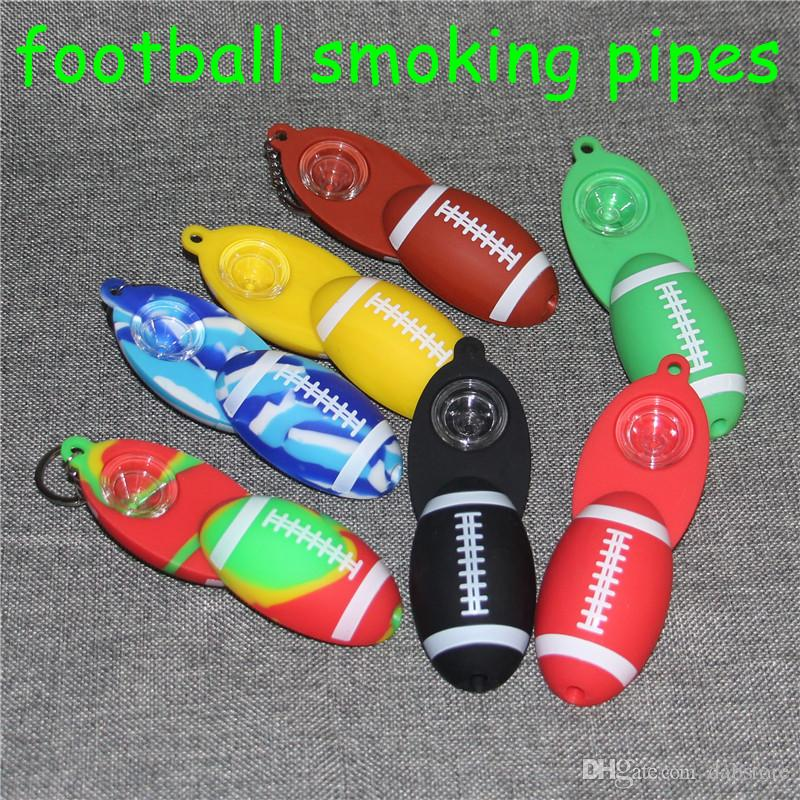 Hot sale Silicone Pipe Smoking Accessories Glass Pipe football Glass Smoke Pipe Heady tobacco hand spoon pipes