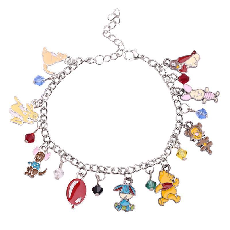 Animales caliente colgante brazaletes del esmalte Hallazgos globo oso encanto de la pulsera para las mujeres de los hombres de color de plata regalos de joyería de la cadena