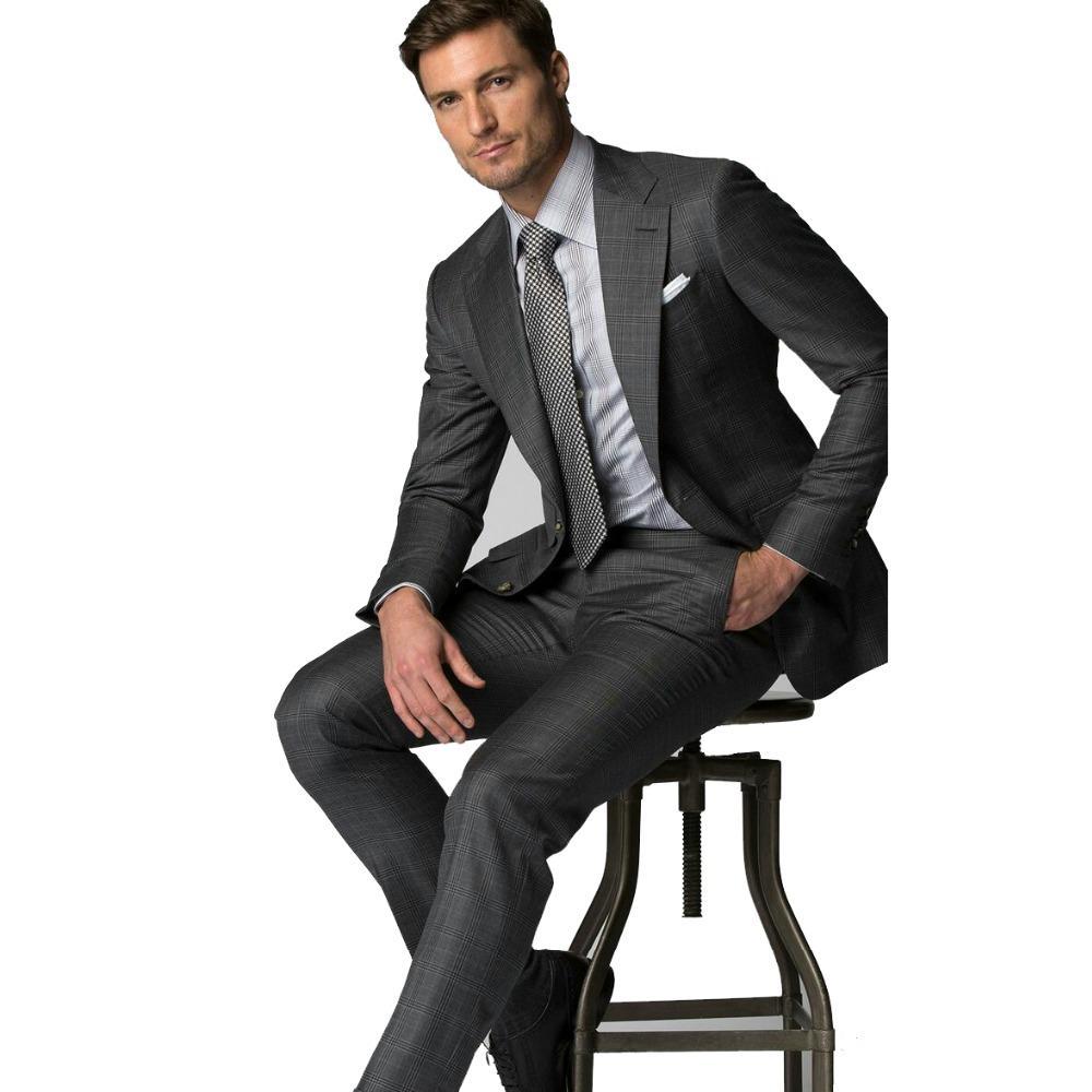 2019 Dark Grey Plaid Stripe Men's Slim Fit Business Suit Men High Quality Tailored Suits Male Wedding Tuxedo Suits Jacket Pants