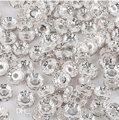 300 قطعة / الوحدة الأبيض ab كريستال حجر الراين rondelle فاصل الخرز diy 8 ملليمتر سحر لصنع المجوهرات