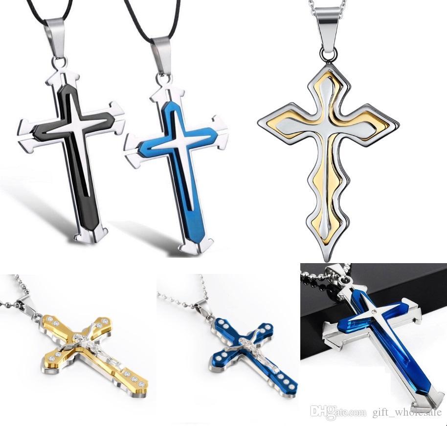 Мода Иисус кусок Креста кулон христианские ювелирные изделия позолоченный крест ожерелье из нержавеющей стали ожерелье мужчины женщины ювелирные изделия