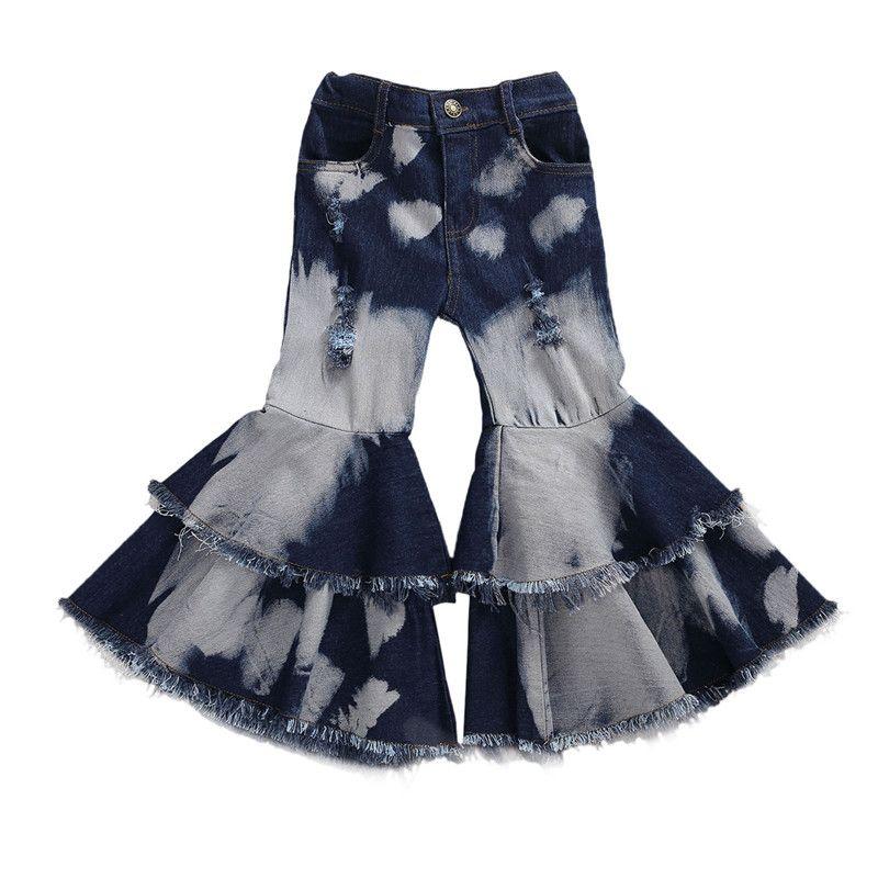 2020 Baby-Kleidung Kleinkind-Baby-Kind-Kind-Mädchen-Kleidung Bell-Bottom Hose Flare Denim-Jeans-Hosen Layered Loch Hosen 2-7T
