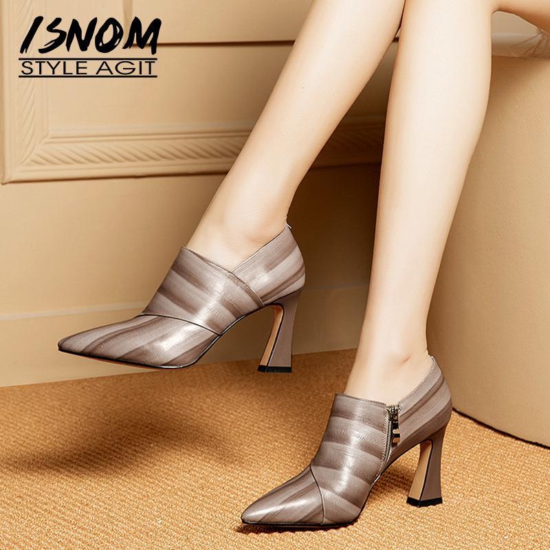 ISNOM de cuero de vaca de las mujeres bombea punta estrecha calzado de moda Zip zapatos femeninos de los altos talones Mujer 2019 Nuevo Partido Bombas Oficina Y200111