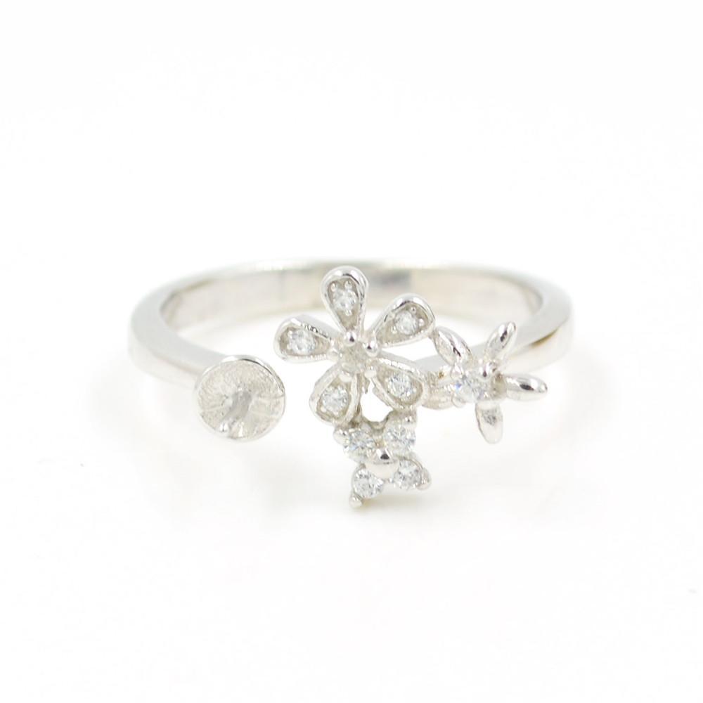 S925 стерлингового серебра кольцо крепления цветок фея кольцо крепления для женщин ювелирные изделия из жемчуга diy бесплатная доставка регулируемый открытие кольцо крепления
