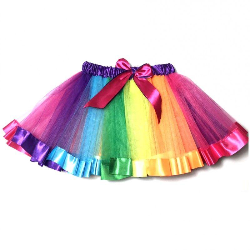 Factory Remake Girls Fluffy Tulle Dress Rainbow Ballet Skirt Tutu With Ribbon Bows for Toddler Baby Girls