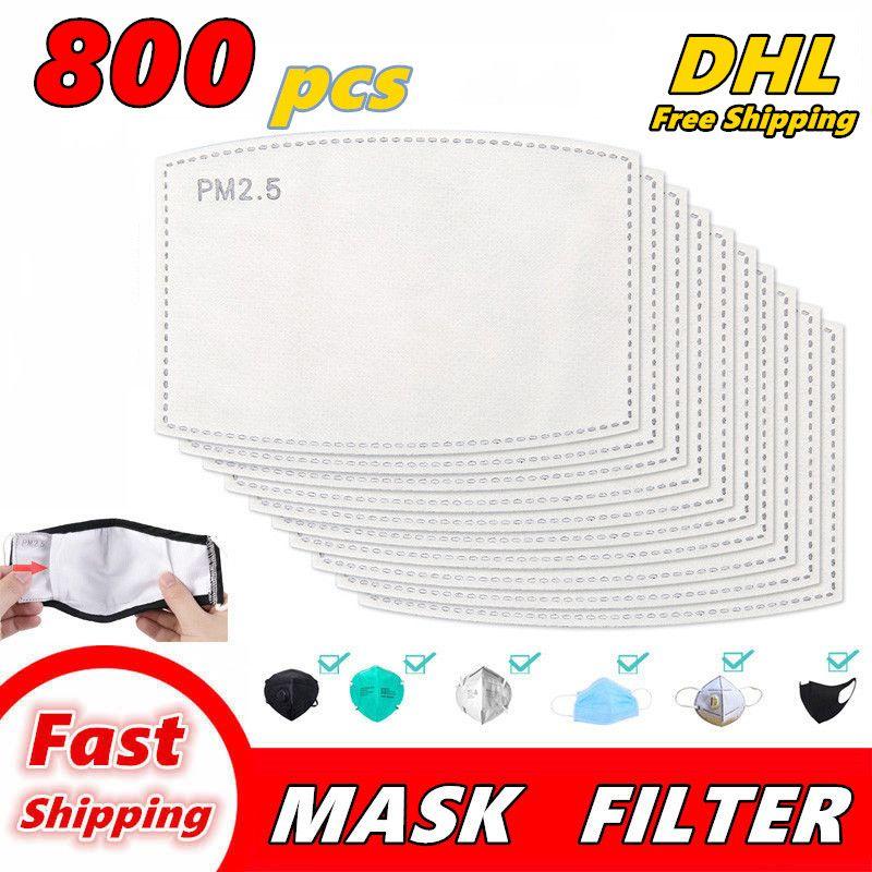 800 PCS PM2.5 مرشح للقناع مضاد بالضباب الفم أقنعة استبدال تصفية شريحة 5 طبقات غير المنسوجة الكربون المنشط تصفية الوجه قناع طوقا Q02