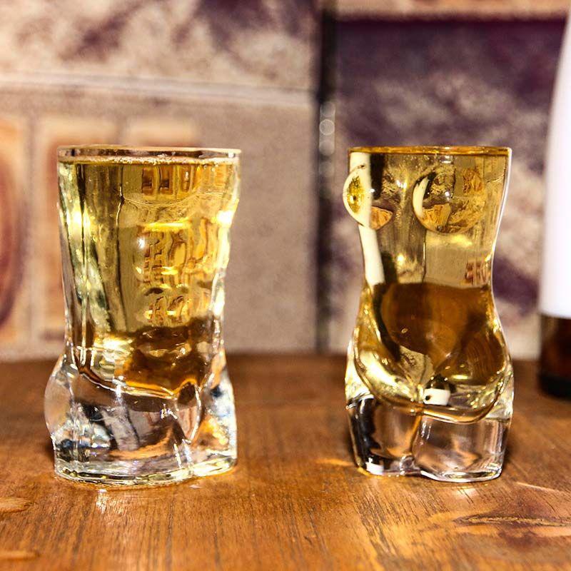 مثير سيدة الرجال دائم مزدوجة الجدار ويسكي نظارات النبيذ بالرصاص الزجاج كبير الصدر كأس البيرة 700 ملليلتر / 60 ملليلتر زوجين الهدايا