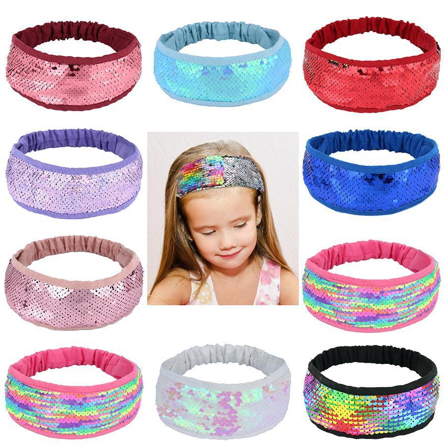 12 Colors fashion girls elastic sequin headbands kids girl glitter colorful hairbands Hair Sticks kids hair accessories