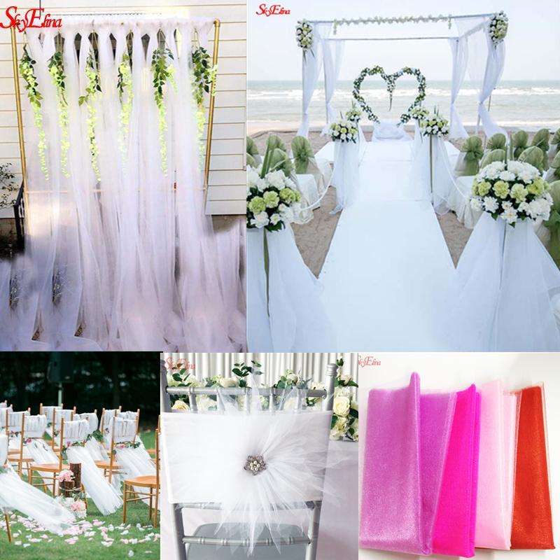 10 m * 48 cm Tulle Roll Tecido Spool Cristal Organza Tule para Decoração de Casamento Em Casa Do Chuveiro Do Bebê Festa de Casamento DIY 6Z SH015-1