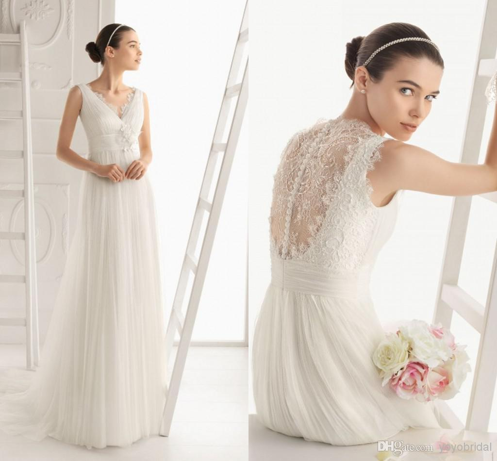 New Vintage Wedding Dress with Lace Tulle a line Designer Style Wedding bridal Dress CG01