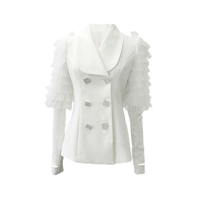 Costumes Femmes Blazers Manteau Femme Manteau irrégulier Couverture de maille Costume Femmes Diamant Casual Casual Wild Blanc Blazoves 2021 Mode Sexy Z051
