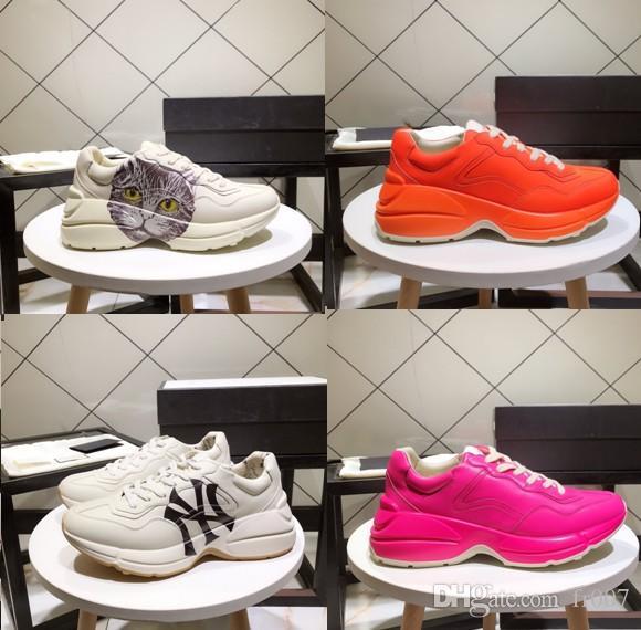 Rhyton Designer Shoes Sneaker casual di lusso scarpe di cuoio in pelle papà Geninue formato US5-US10 con box recept