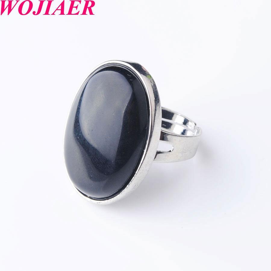 WOJIAER New ovale naturel Gem Pierre Noire Agate Bague Parti Ring pour Hommes Femmes Bijoux DX8004