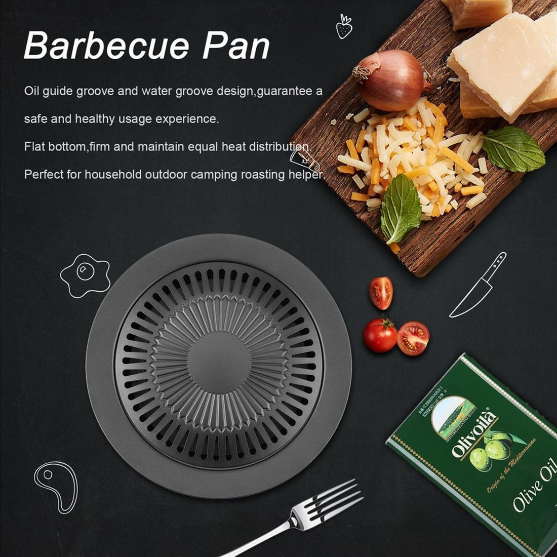BBQ Roast Tray Non-Stick Round Smokeless Indoor Barbecue Grill Pan with Brush Best selection as BBQ cooking tools - Black