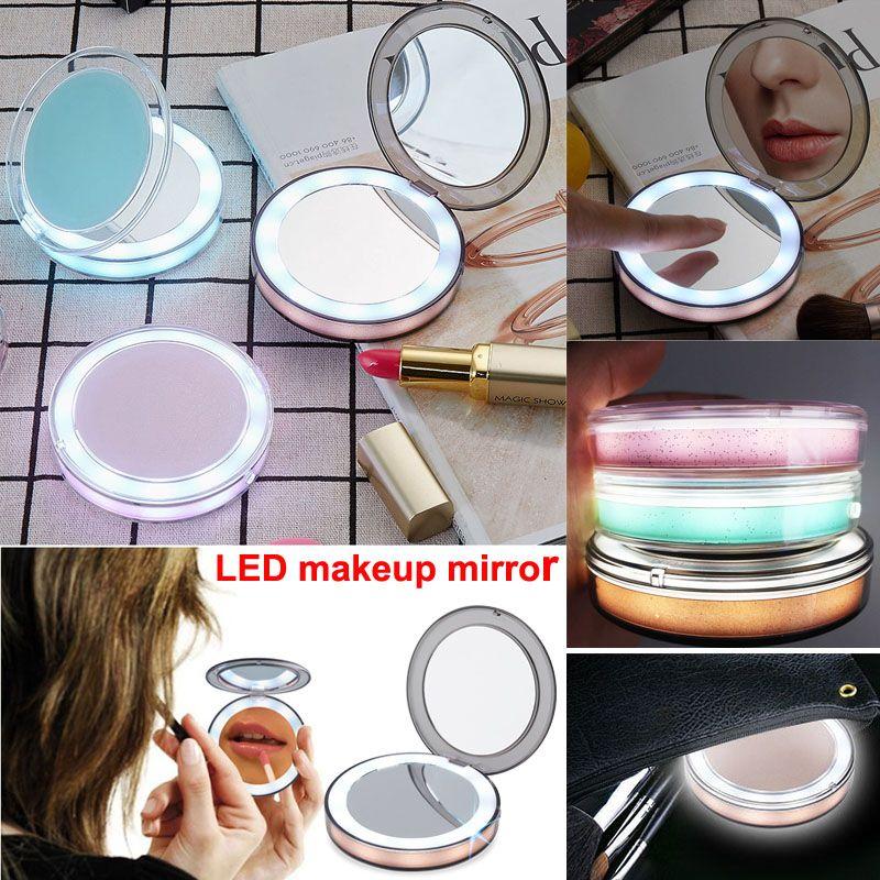 Новый портативный LED зеркало для макияжа 2-лицо 1X 3X увеличительные очки макияж карманный LED зеркало тщеславие косметический USB зарядка освещенный край