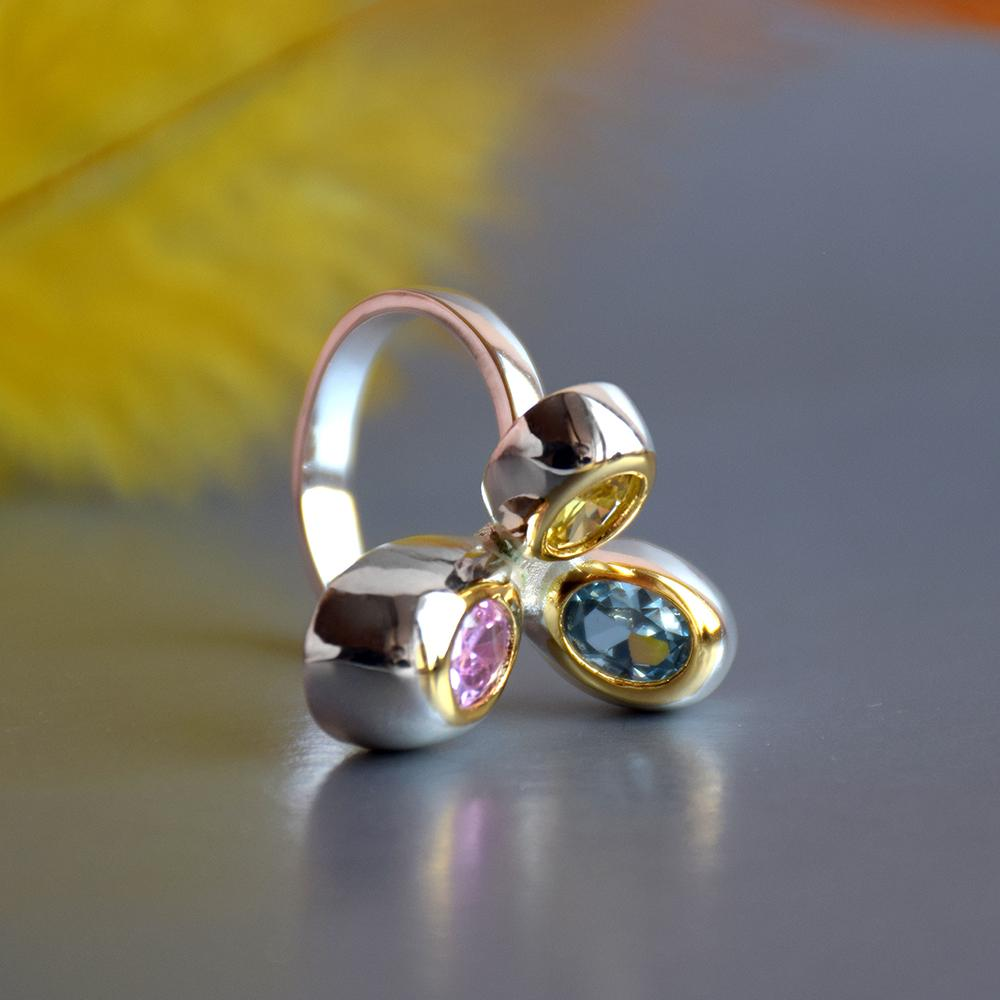 Mode-schöner nettes Ring Blau Rosa goldener Kristall Zircon Silber-2-Ton überzogene Schmuck-Mode-Finger-Ring-Frauen Neuer Schmuck