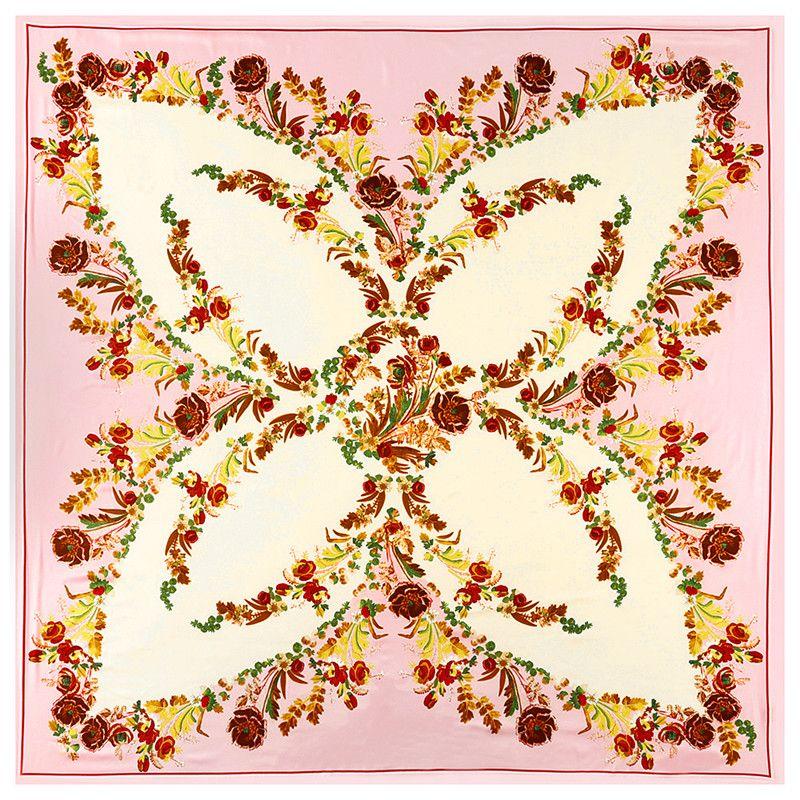 New Twill Silk Scarf Women Fashion Large Hijab Bohemia Floral Printing Square Scarves Shawls Wraps Female Foulard Bandana 130cm*130cm