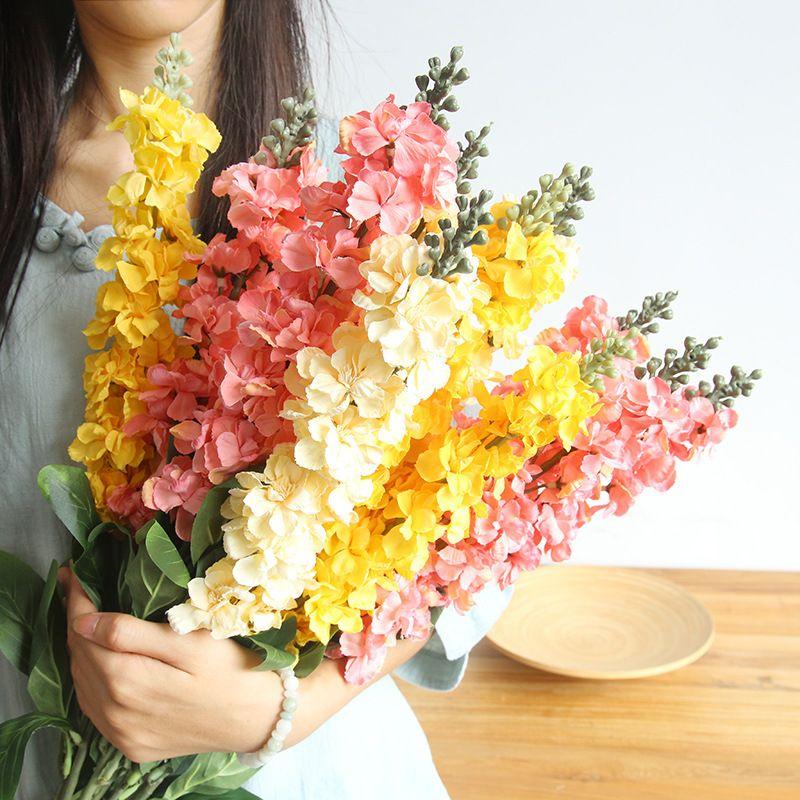 90см Искусственный цветок фиалки Отделение для дома и сада украшения Поддельные цветы Рождество День рождения партии Свадебные принадлежности Flores
