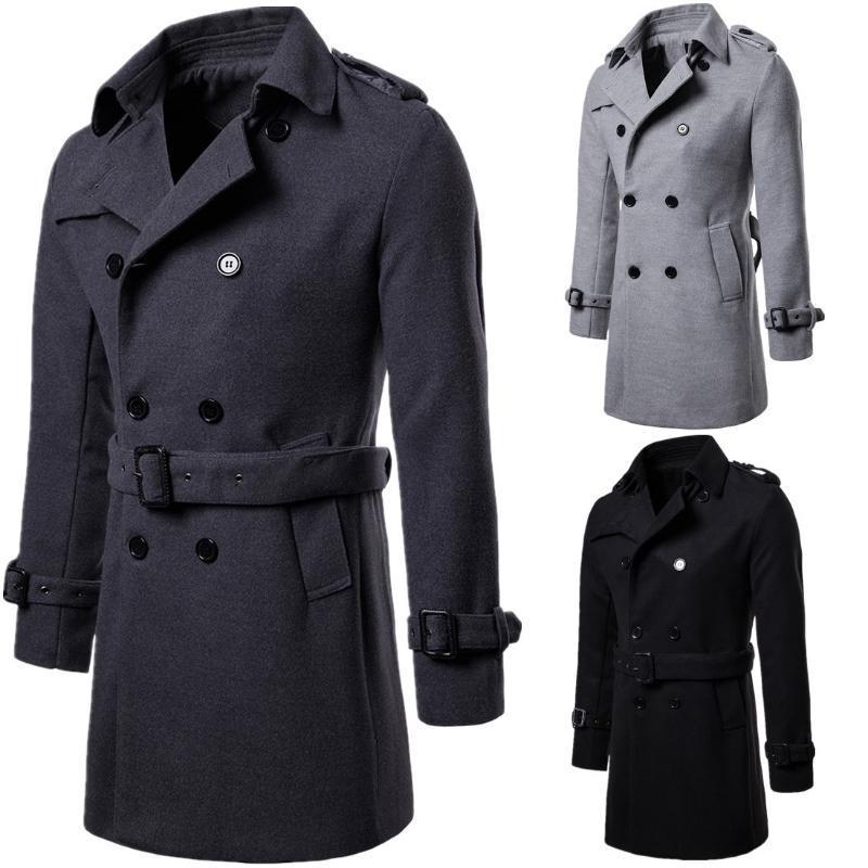 Autunno e l'inverno 2019 più nuova grande formato del cappotto lungo degli uomini panno di lana cappotto nero grigio Colori S-XXL taglie da uomo Trench