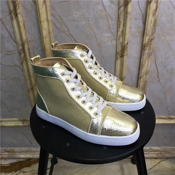 Top diseñador de lujo fondos rojos zapatos unisex hombres mujeres tacones Moda Studded Spikes Flats Sneakers Moda Slip-on Roller Boatfc08#