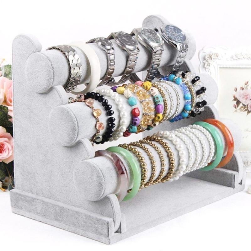 Triplo Nível removível redonda suporte de jóias titular Pulseira Colar Assista carrinho de exposição de veludo 1pcs prateleira