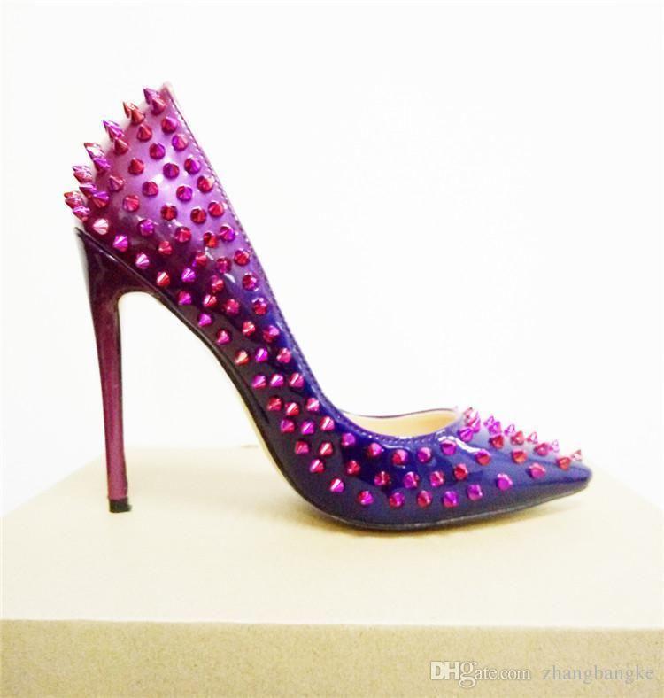 Sexy2019 Neue Frauen Elegante Fersen Kleid Party 12 cm High Heel Nieten Pumps Stiletto Spitz Schuhe