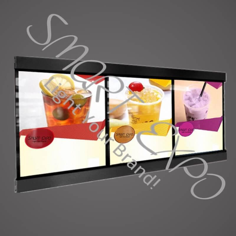 60x120cm Magnetic Aluminum Led Light Box for Menu Board Restaurant Fast Food Display with 3pcs Light Box Units Wooden Case Packing