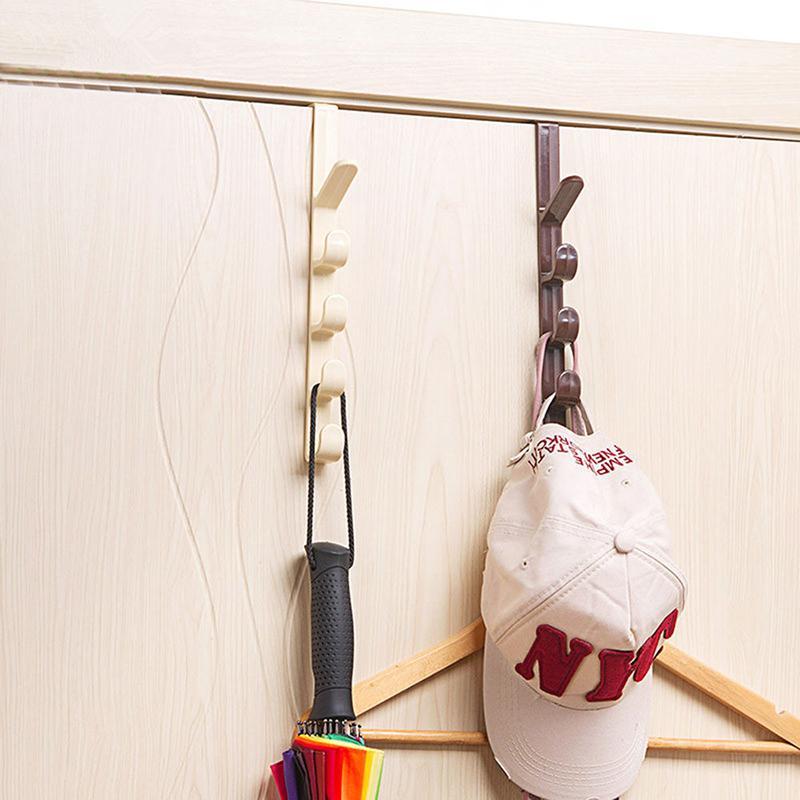 Useful Bedroom Door Hanger Clothes Hanging Rack Plastic Home Storage Organizing Hooks Over The Door Holder Bag for Towel Bags