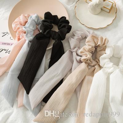Vintage pelo color sólido Scrunchies Gran Arco largo Cola de caballo titular de la cuerda de goma con banda de sujeción corbata Decoración para mujeres de la muchacha de la boda del ro