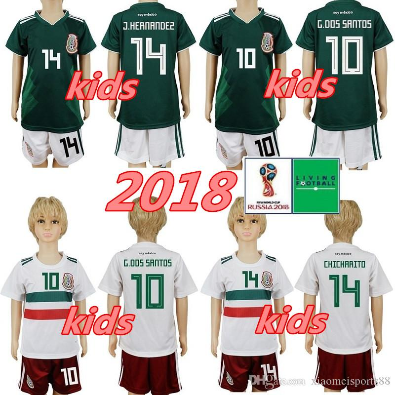 2018 멕시코 키즈 축구 유니폼 CHICHARITO LOZANO CHUCKY 소년 월드컵 축구 셔츠 유니폼 청소년 G DOS SANTOS 어린이 캐미션