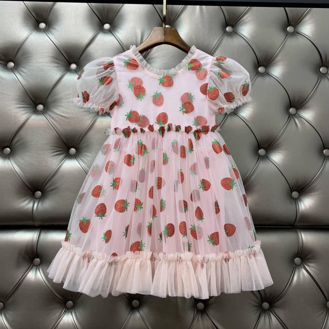 Fahion Designer Kids Girl Dress Baby Girls Dresses Sequin Strawberry Infant Princess Party Dress Costume 2020 Children Clothes