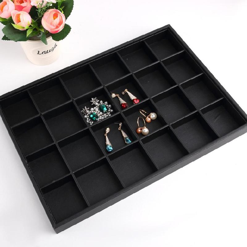 30 Grides Velvet Tray Necklace Rings Organizer Jewelry Display PU Boxes Quality Rings Storage Case Caskets for Jewelry Show Case