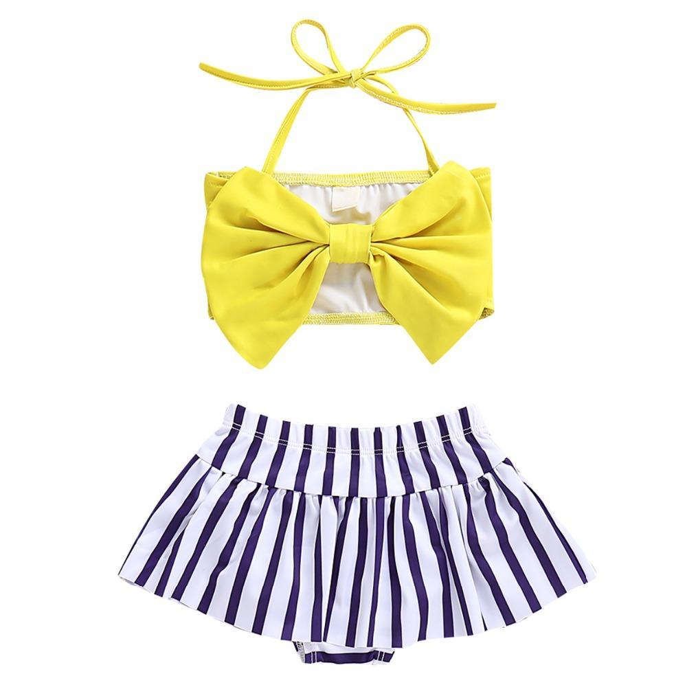 2adet Bebek Kızlar Halter ilmek Tüp Üst + Çizgili Kısa Bottoms Bikini Mayo Mayo Sevimli Bebek Kızlar İki parçalı mayo