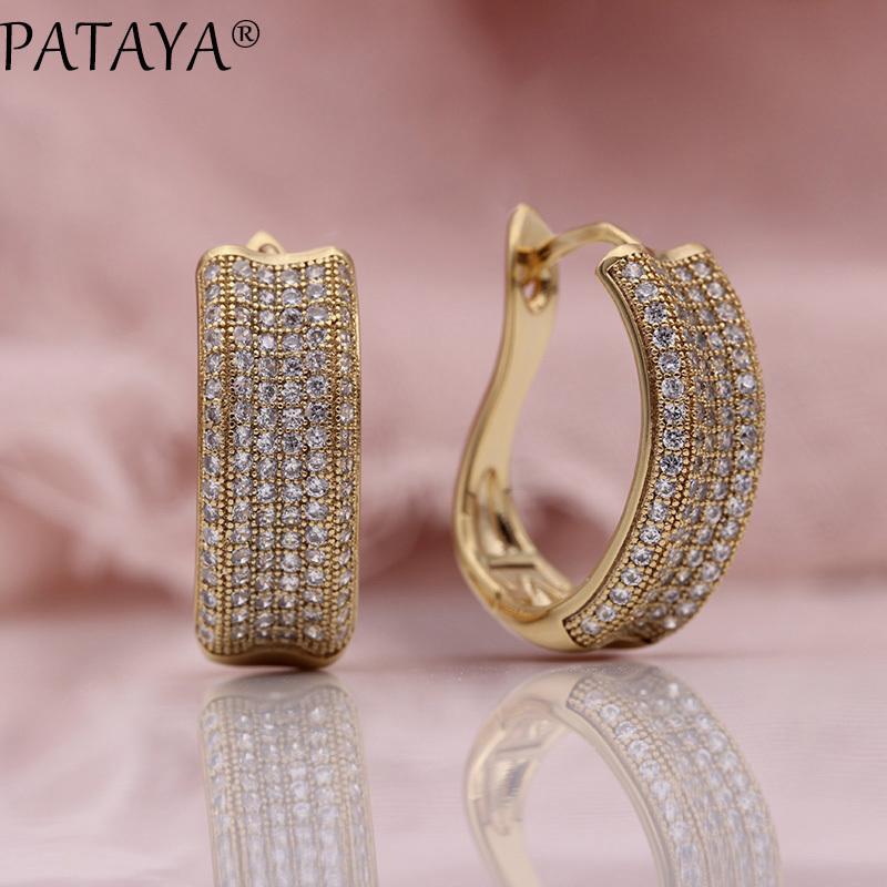 PATAYA nuevo micro cera embutido pendientes Mujeres noble de la manera de doblez joyas de oro oro blanco 585 Rose cuelga los pendientes de circón natural