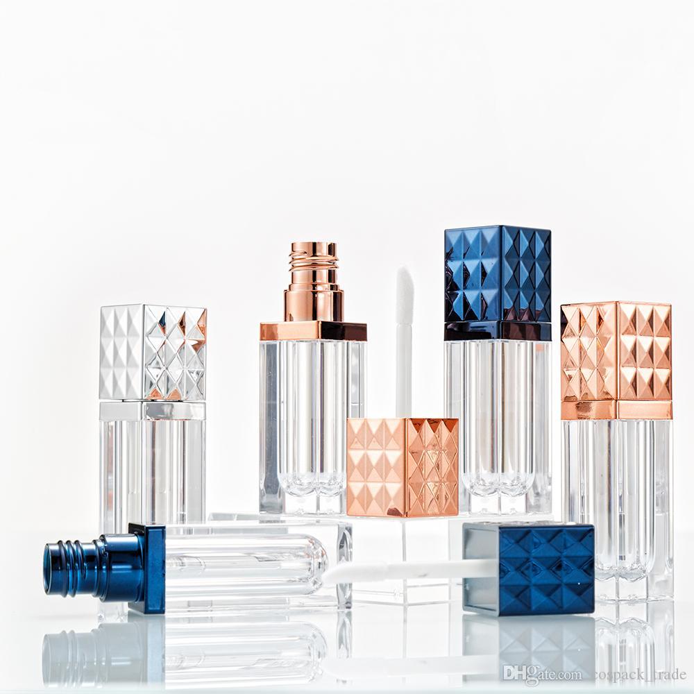 Effacer 6ml Square avec Or / Argent Cap Lip Gloss Conditionnement Tube