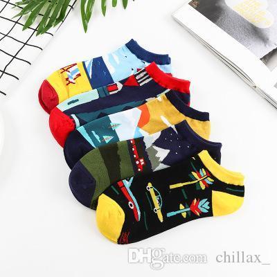 Homens e mulheres casais esportes meias primavera e no verão estilo personalizado de corte baixo meias respirável superficial de alta qualidade versátil meias