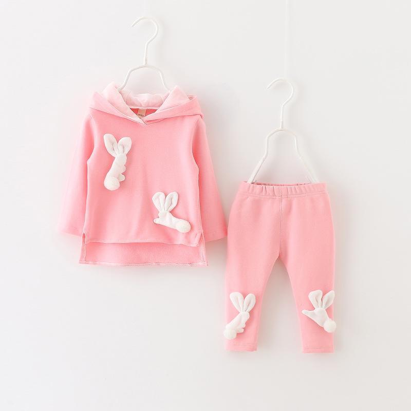 Delle ragazze del bambino che coprono insieme Bambini Tute per ragazze impostati coniglio slong maniche lunghe con cappuccio ragazze di autunno vestiti