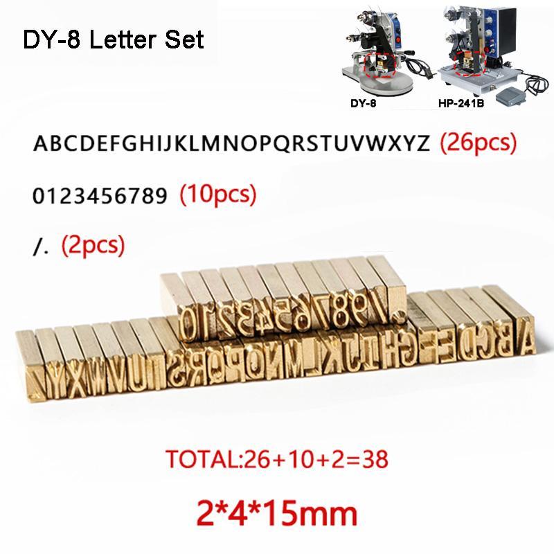DY-8 de letra do alfabeto Fontes de fita para impressora de calor Stamping Chefe Hot Stamping peças de reposição Expiração número Máquina de impressão Código set